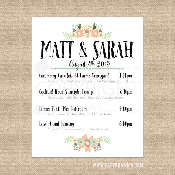 Wedding Welcome Sign - Rustic with Schedule