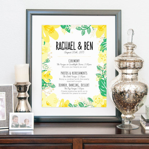Modern Wedding Welcome Sign with Schedule