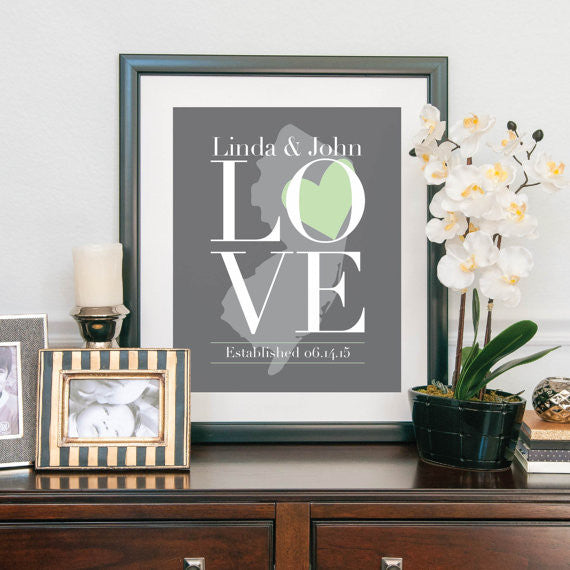 Wedding Art Print - LOVE with State Print