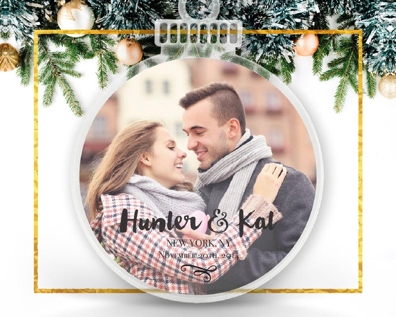 Christmas Engagement Personalized Photo Ornament