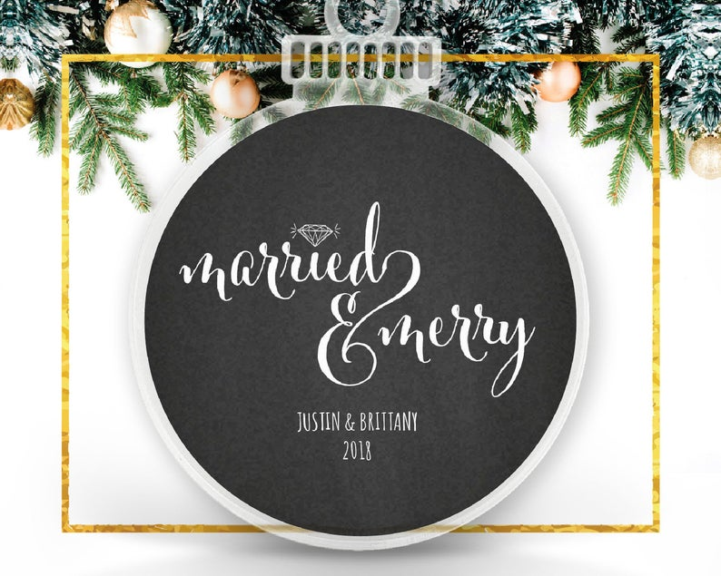 Married and Merry Custom Ornament
