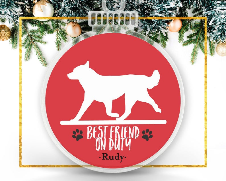 Man's Best Friend on Duty Personalized Ornament