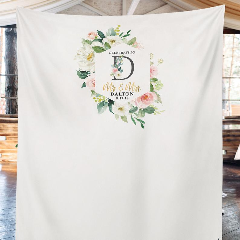 Champagne Blush Flowers Wedding Backdrop