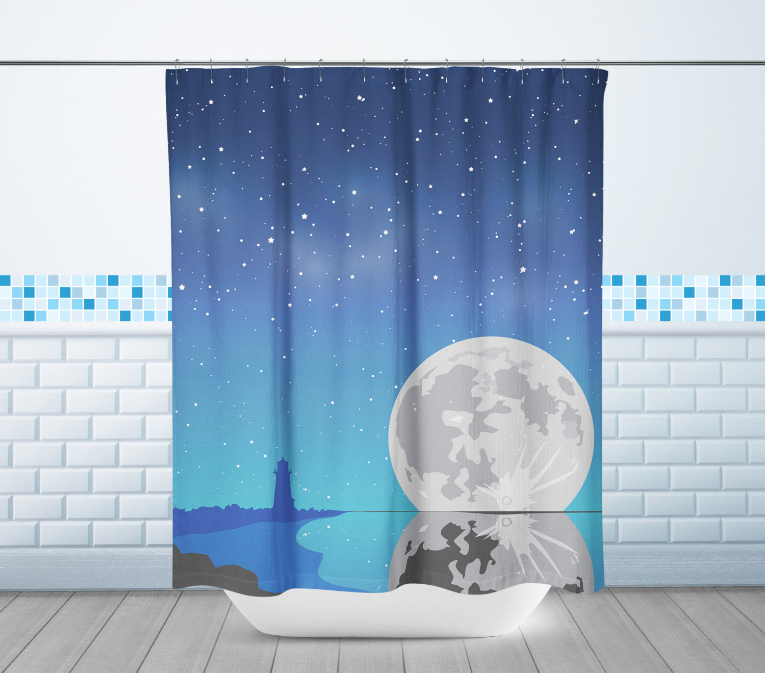 Lighthouse & Moon Shower Curtain