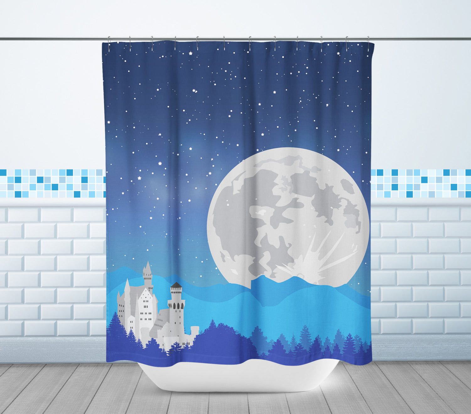 Castle & Moon Shower Curtain