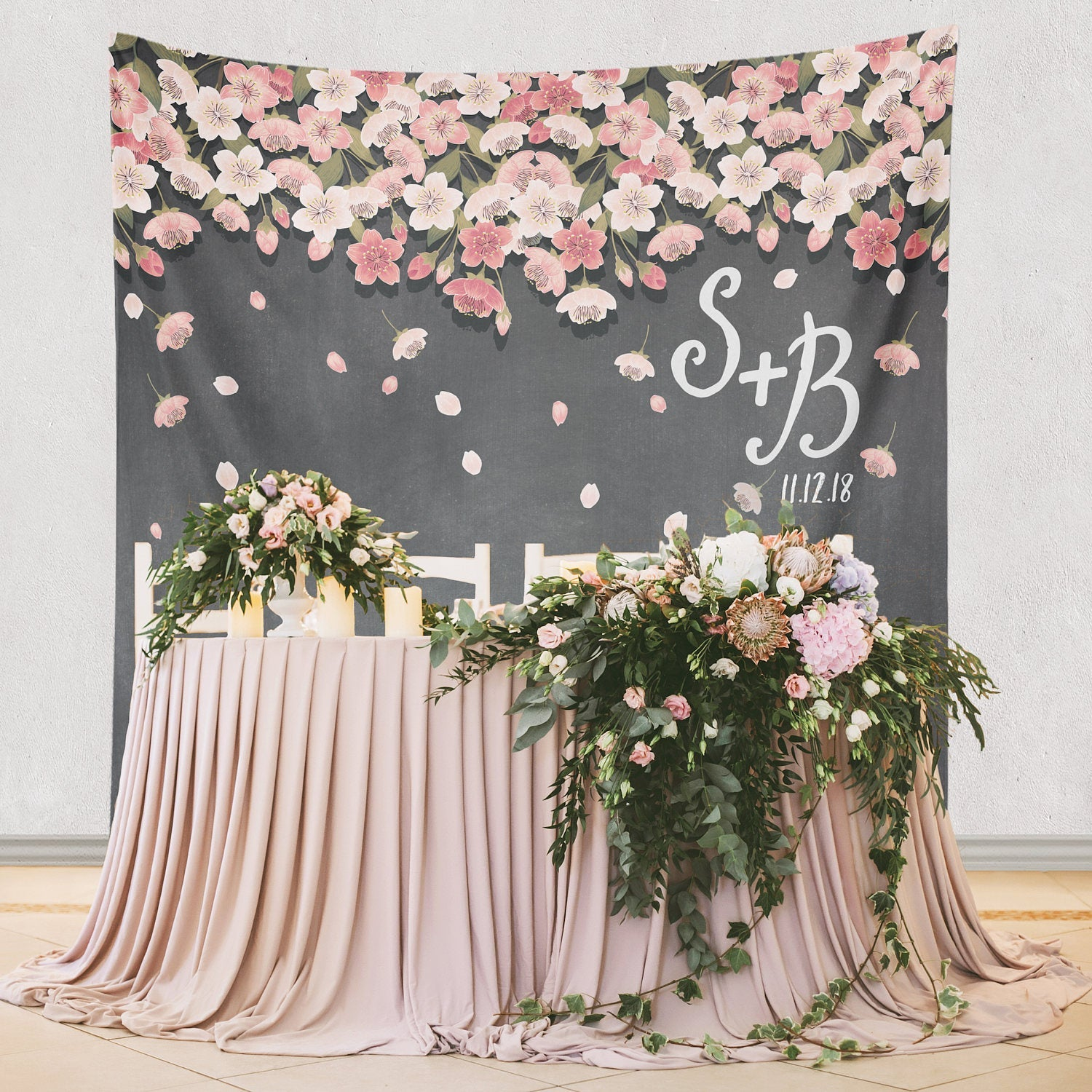 Paper Flowers backdrop for Wedding Reception