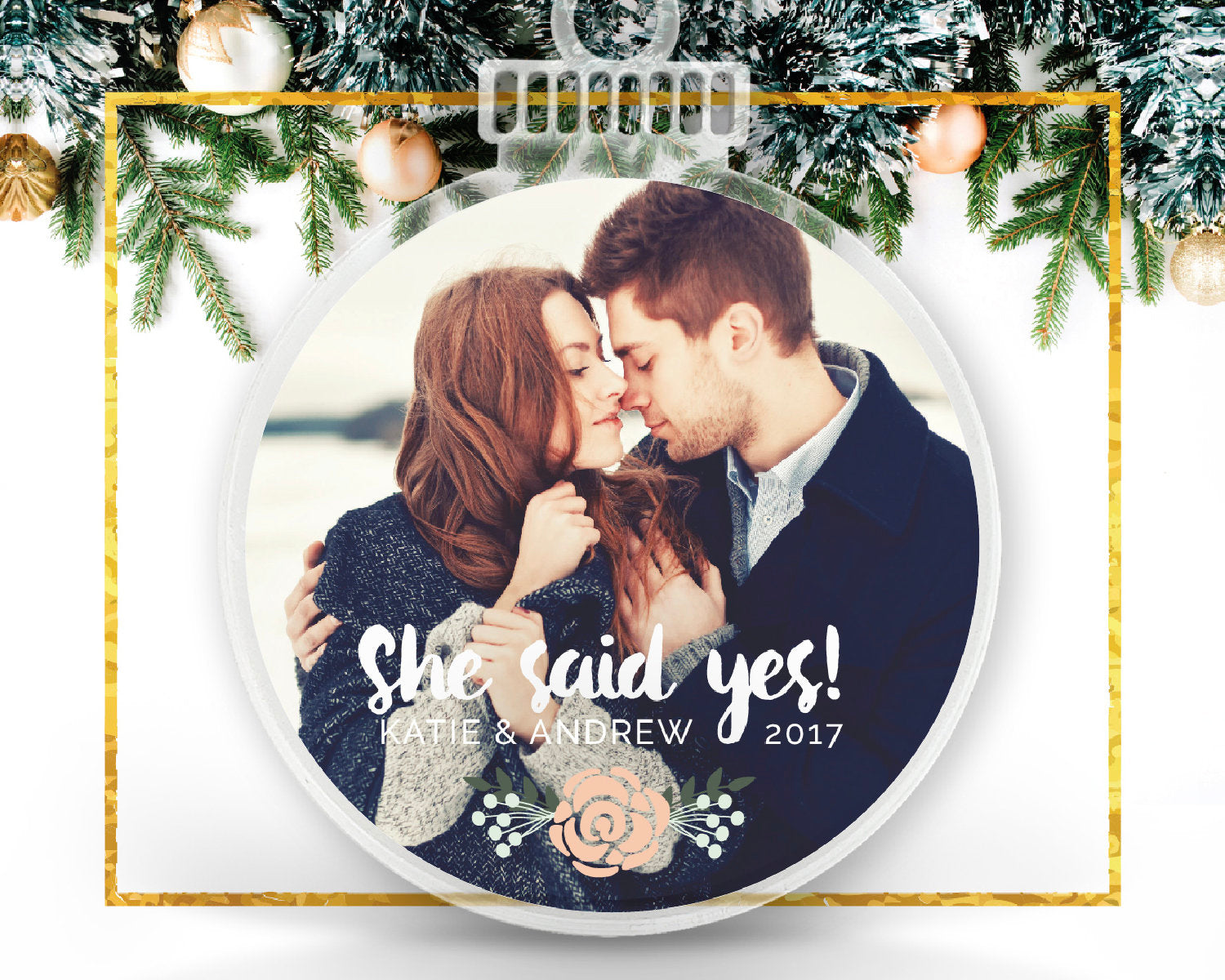 Newly Engaged Gift Personalized Photo Ornament