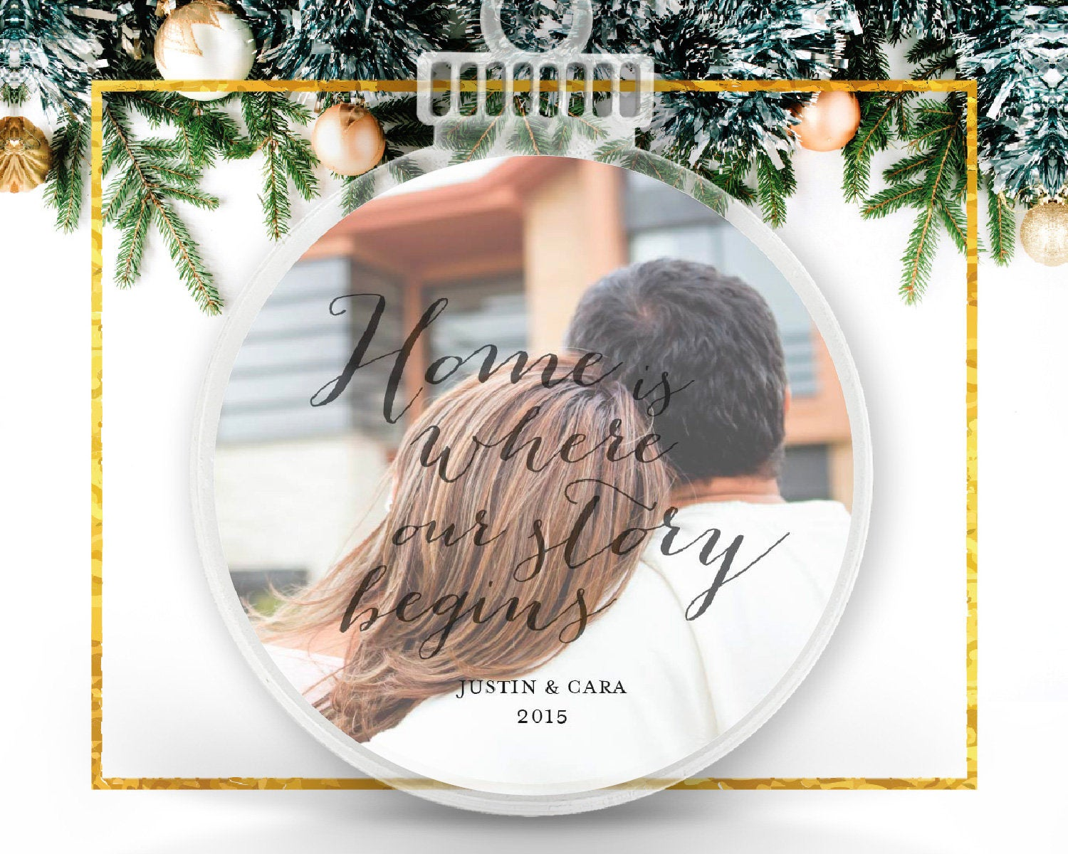 Home is Where Our Story Begins Personalized Photo Ornament