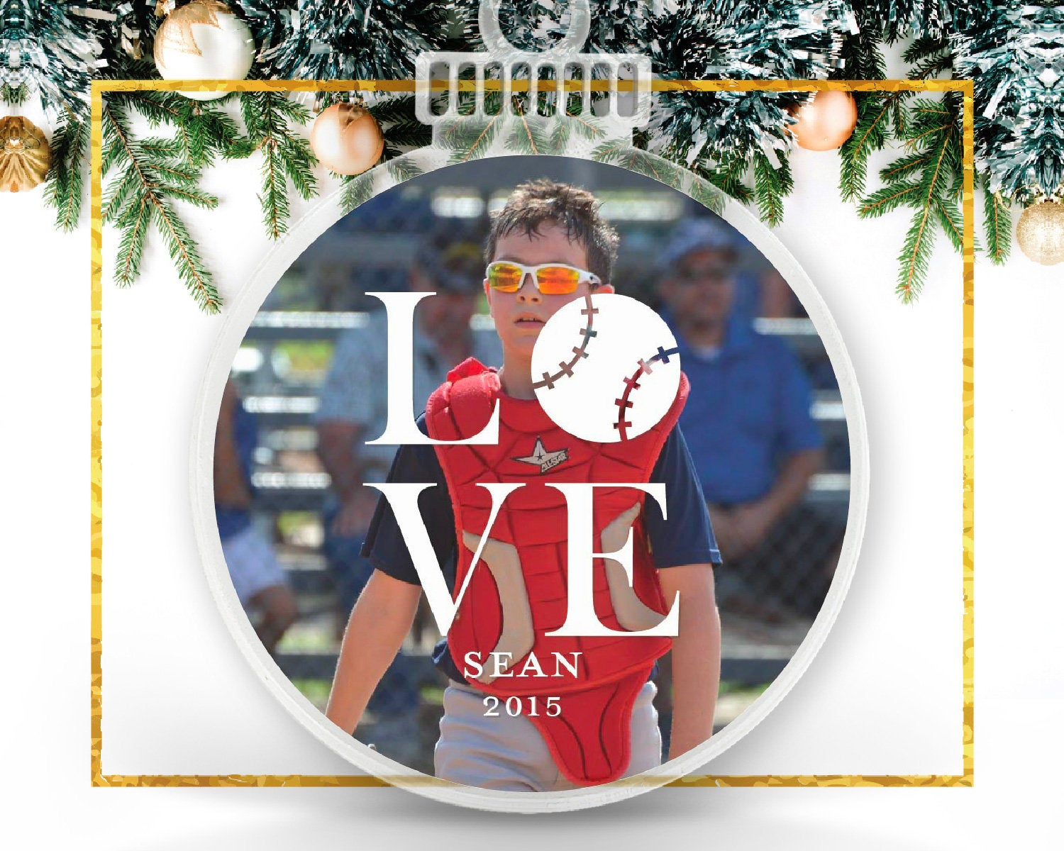 Love Baseball Personalized Photo Ornament