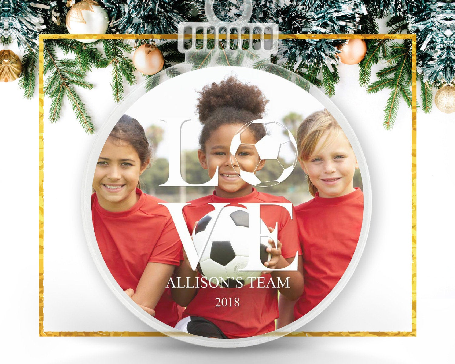 Soccer Team Spirit Personalized Photo Ornament