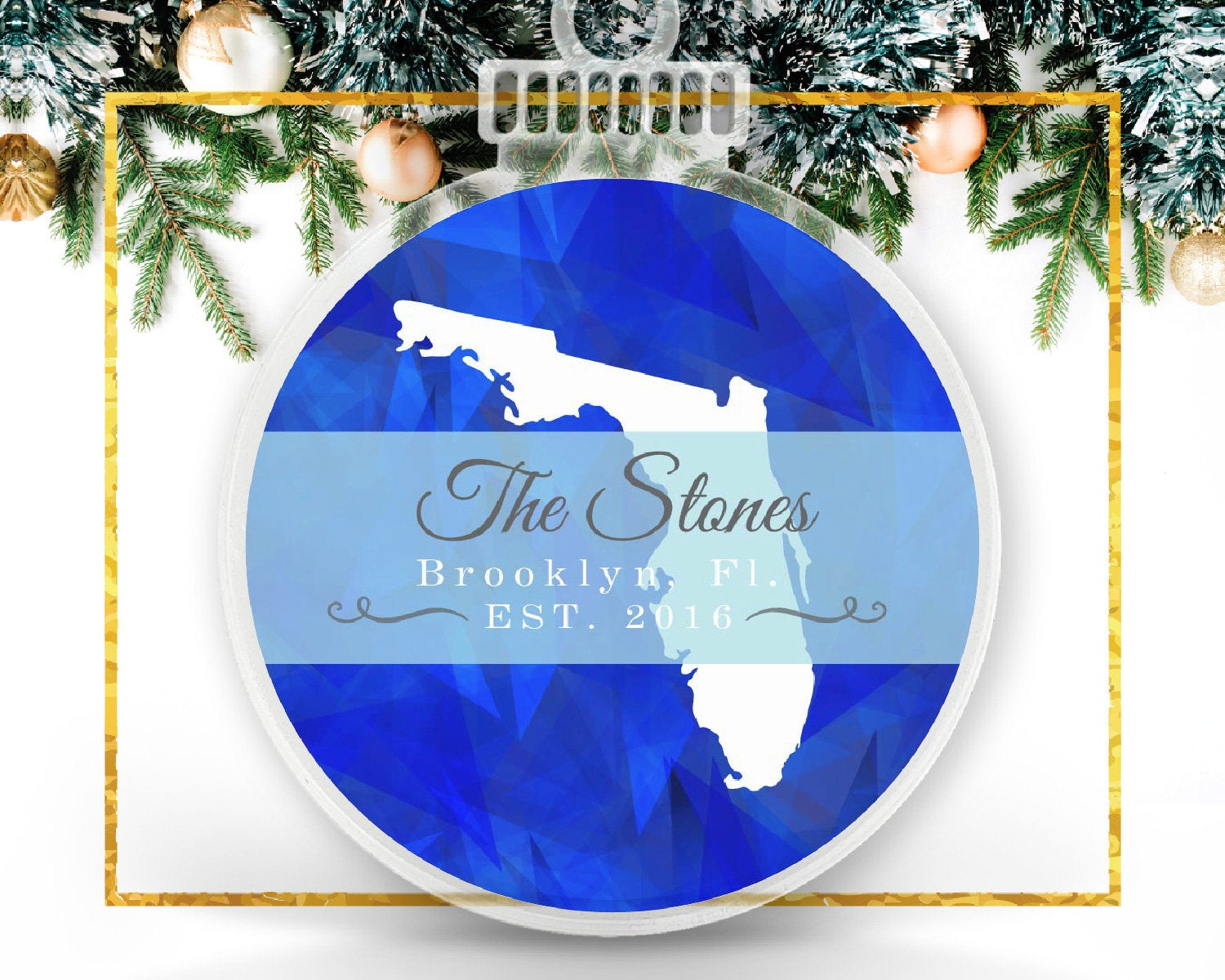 State Holiday Personalized Photo Ornament