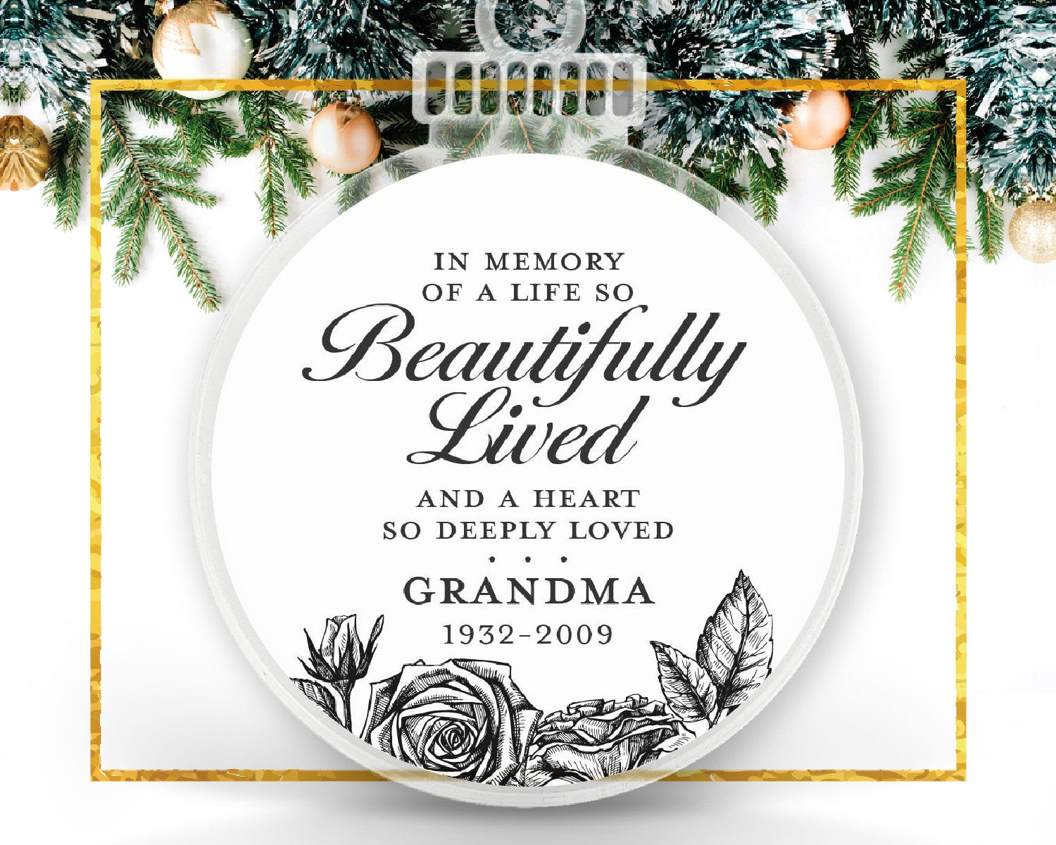 Floral Remembrance Quote Custom Ornament
