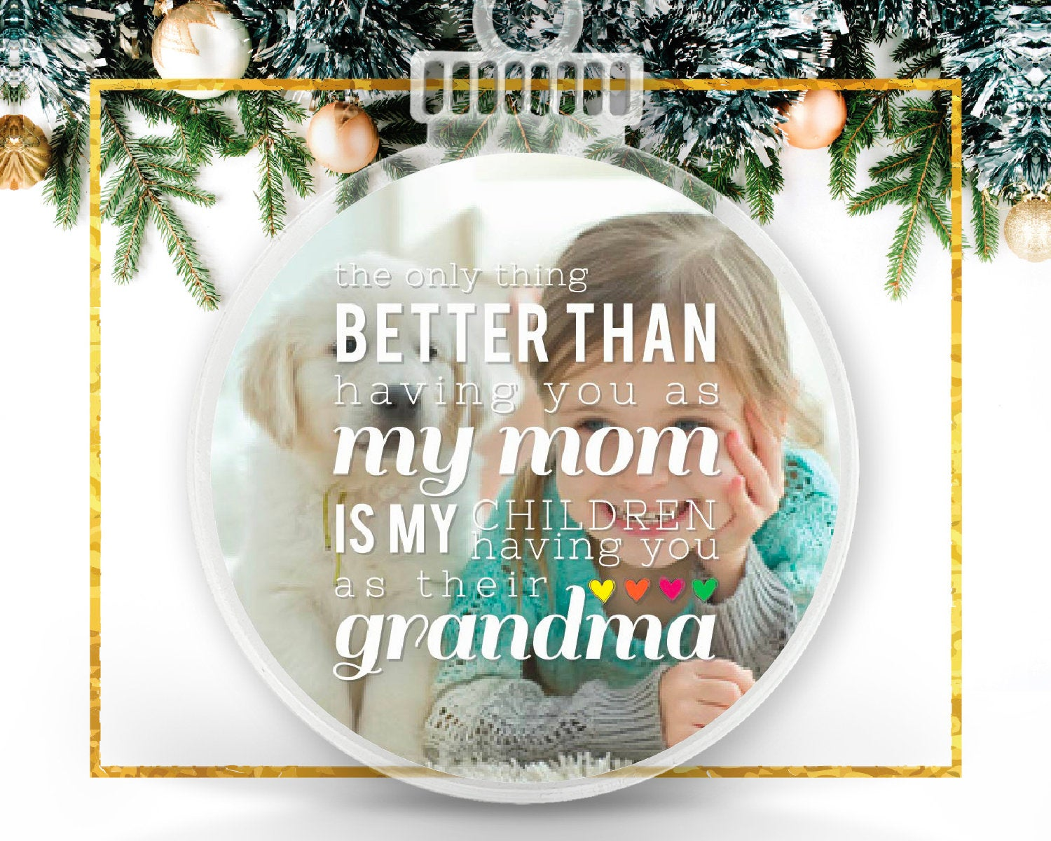 Grandma Personalized Photo Ornament