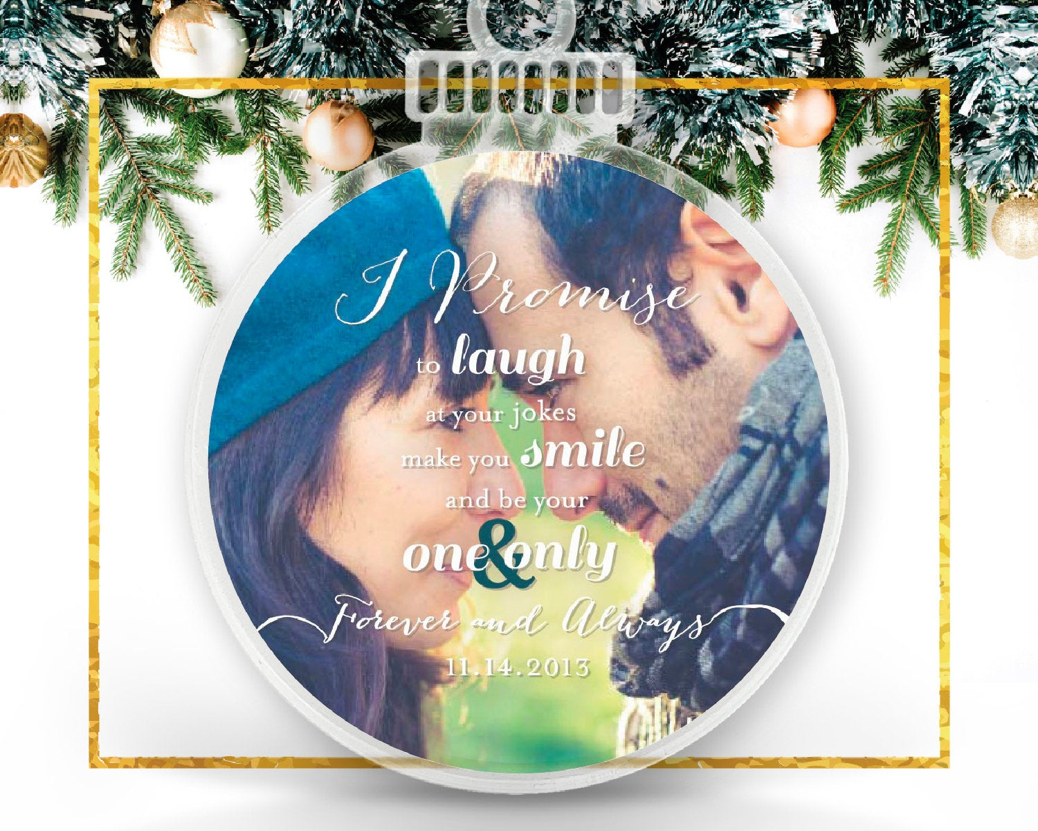 Engagement or Couple Personalized Photo Ornament