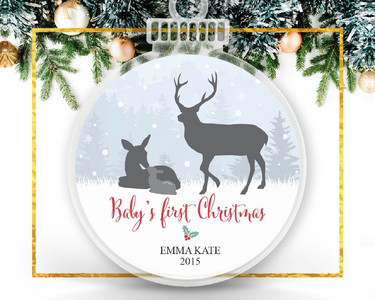 Woodland Baby's First Christmas Custom Ornament
