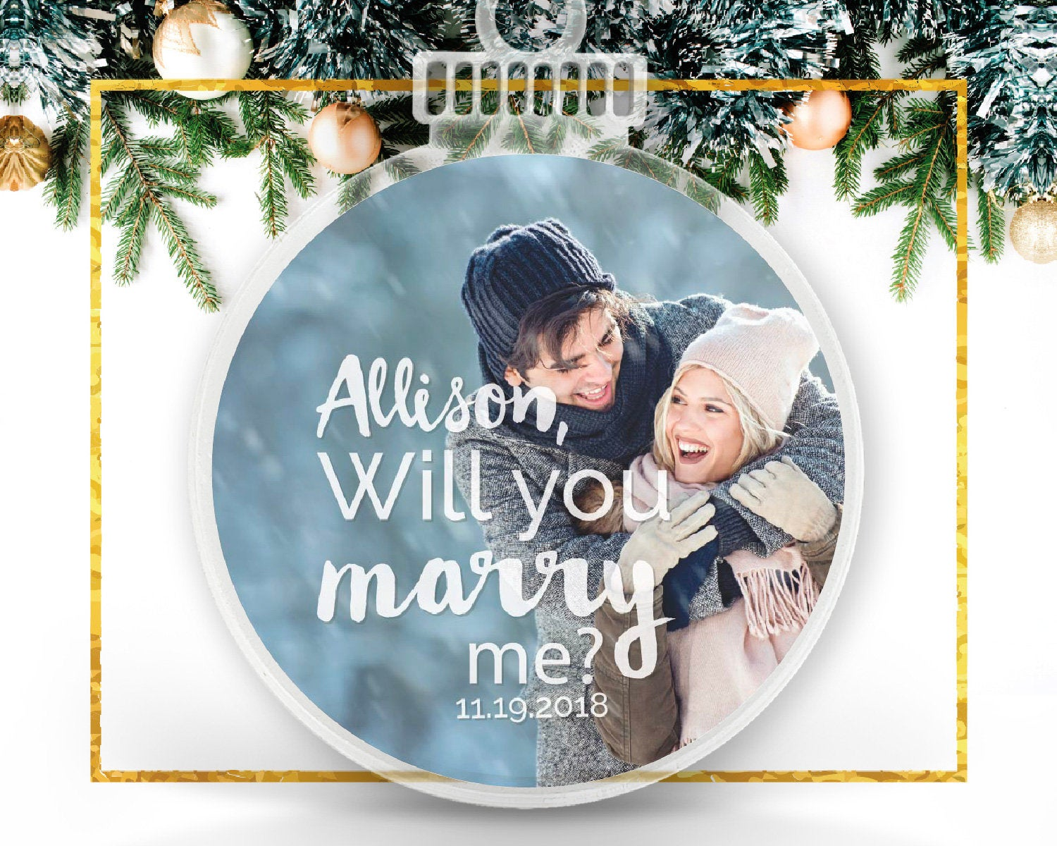 Will You Marry Me Christmas Engagement Personalized Ornament