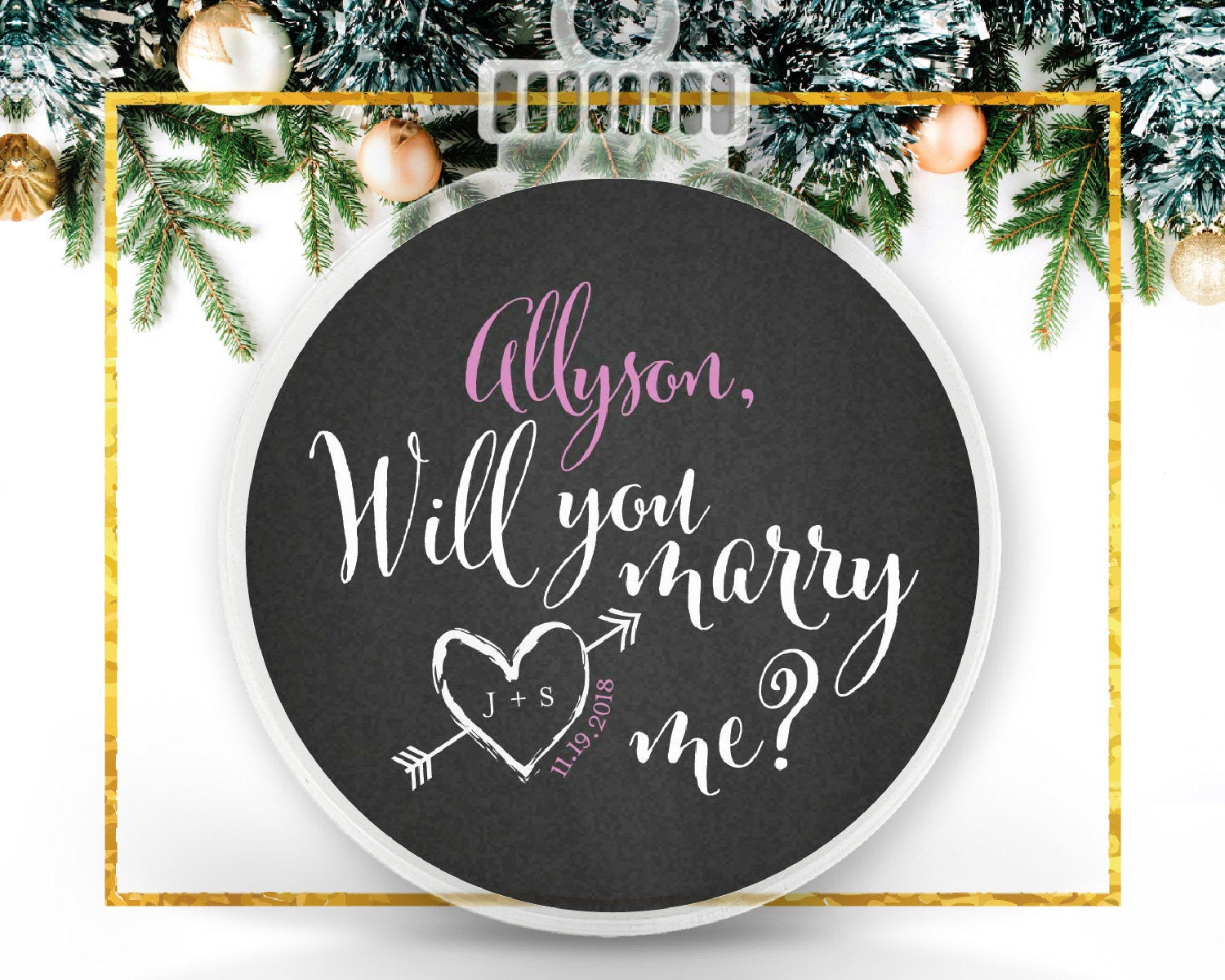 Marry Me Ornament, Proposal Idea, Christmas Engagement Personalized Ornament