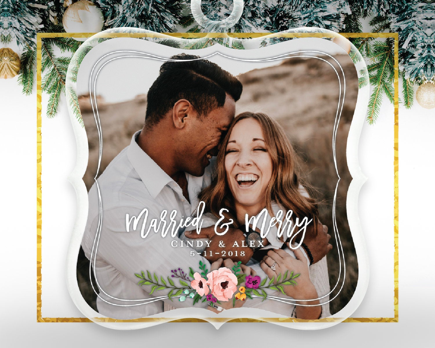 Newlywed Christmas Gift Photo Ornament