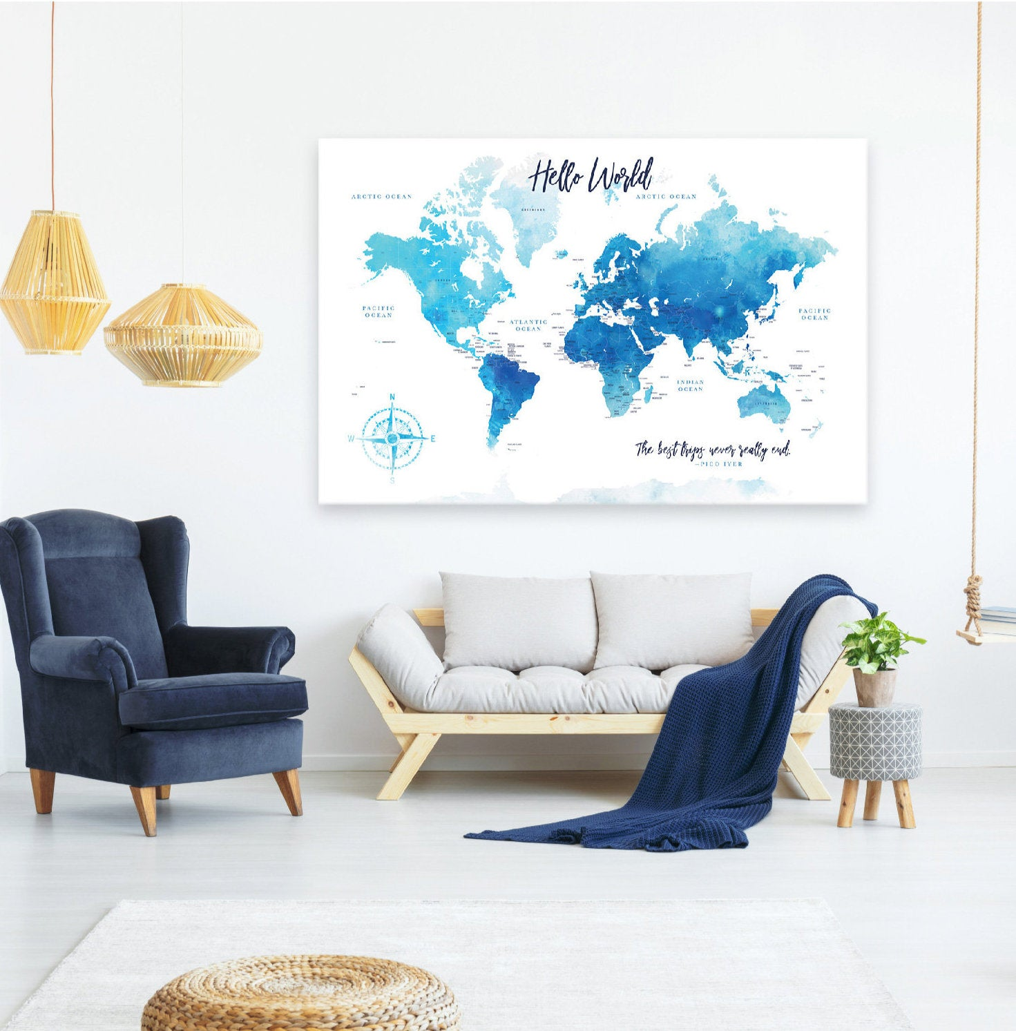 Watercolor World Push Pin Map