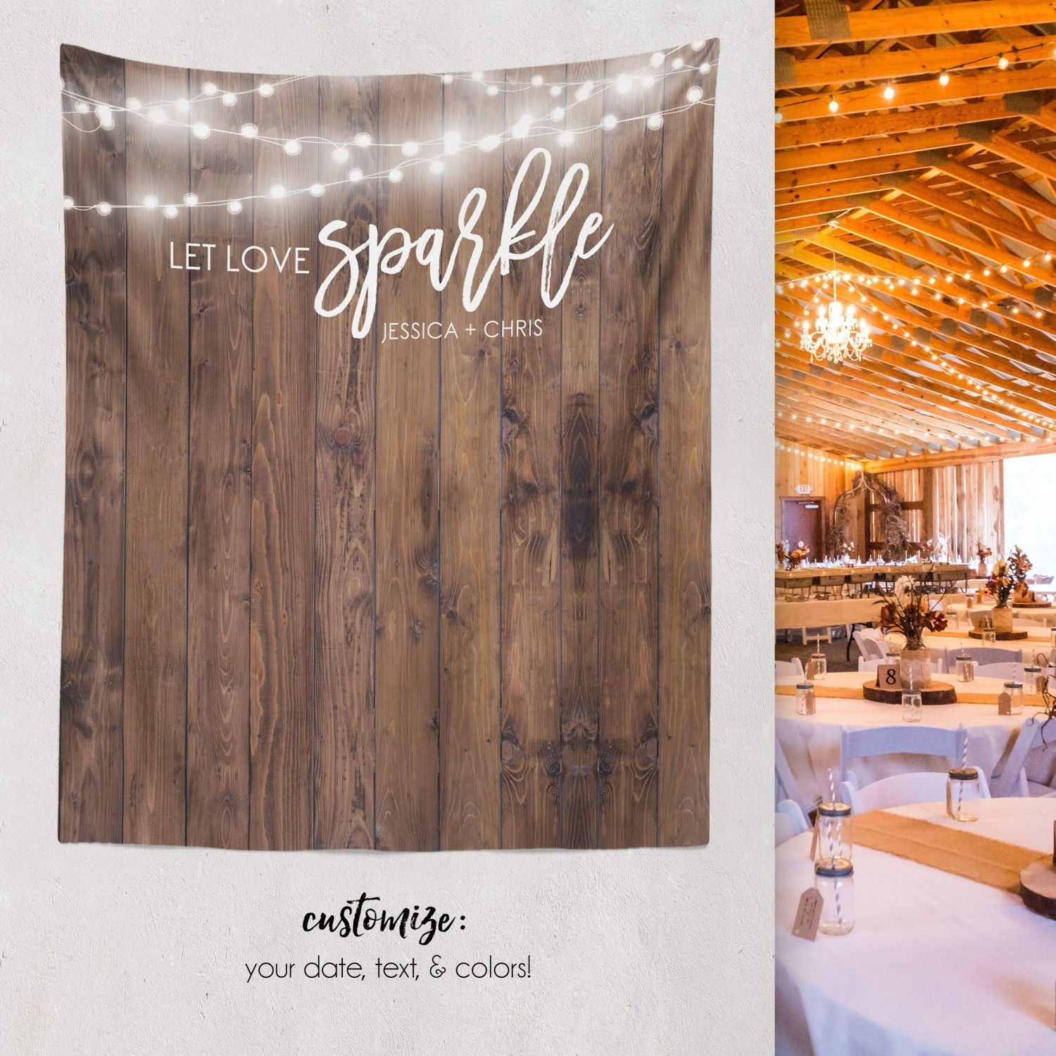 Let Love Sparkle Rustic Backdrop