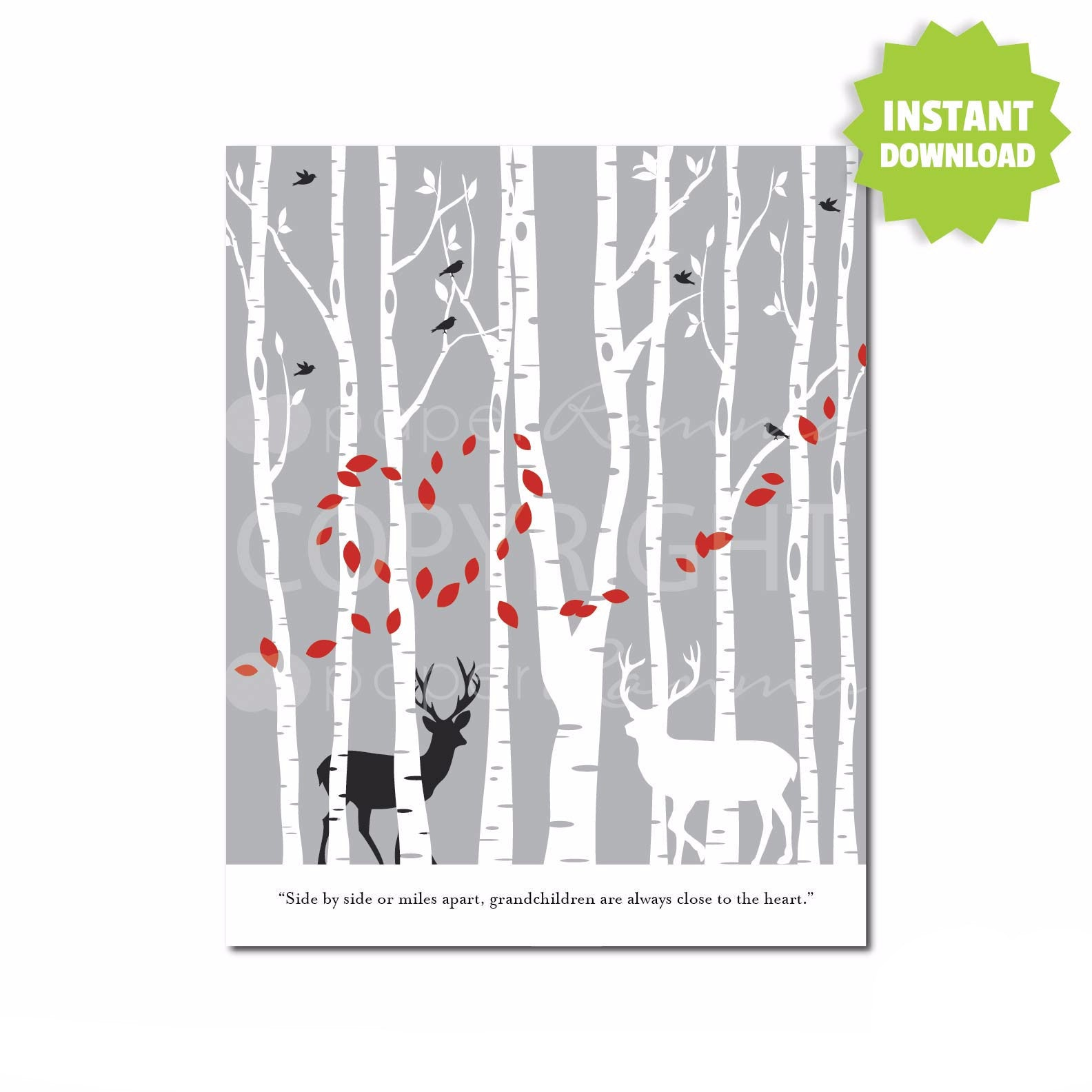 DIY Deer Forest Fingerprint Art </br> <small> <i> Instant Download </i> </br> <small> Digital File </small>