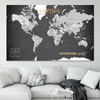 Modern World Push Pin Map | Slate Grey