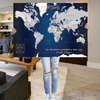 Dark Navy World Push Pin Map