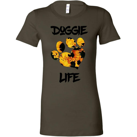 Women's Sunflower, Heart Paw Doggie Life Tee.-Women tee-iStitchDezigns (3630105002078)