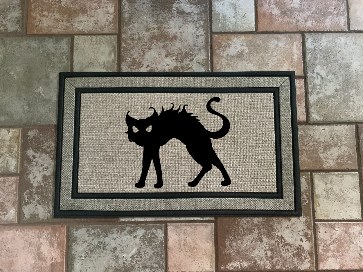 Black Cat Halloween Door Mat - Home Decor Mat.