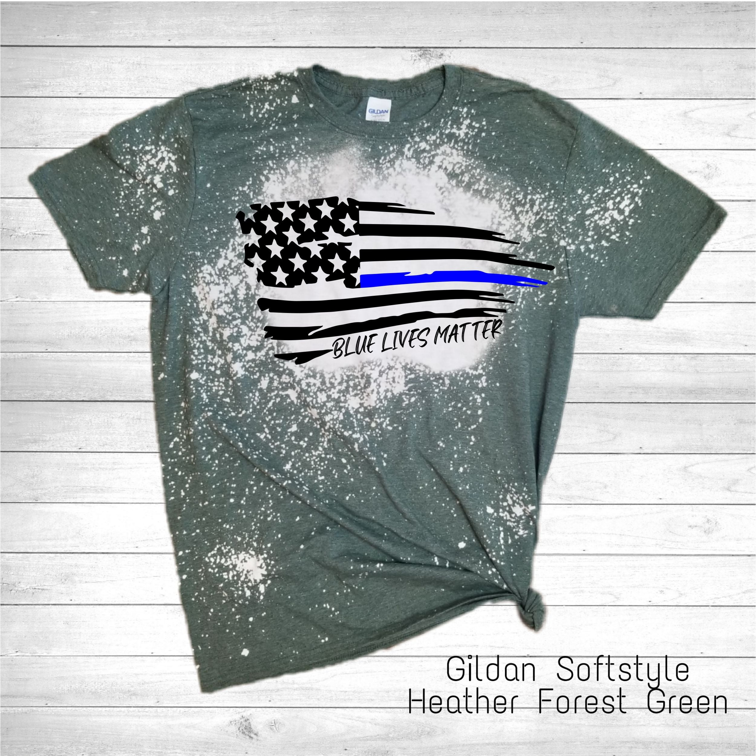 Blue Lives Matter Flag Bleached Tee