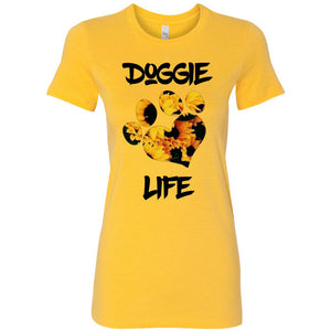 Women's Sunflower, Heart Paw Doggie Life Tee.