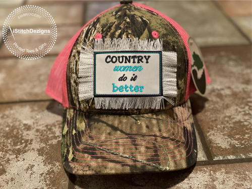 Country Women Do It Better - Embroidered Convertible Velcro Hat Patches -iStitchDezigns