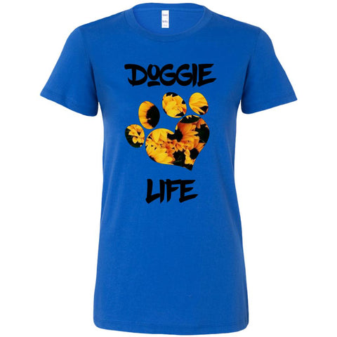 Women's Sunflower, Heart Paw Doggie Life Tee.-Women tee-iStitchDezigns