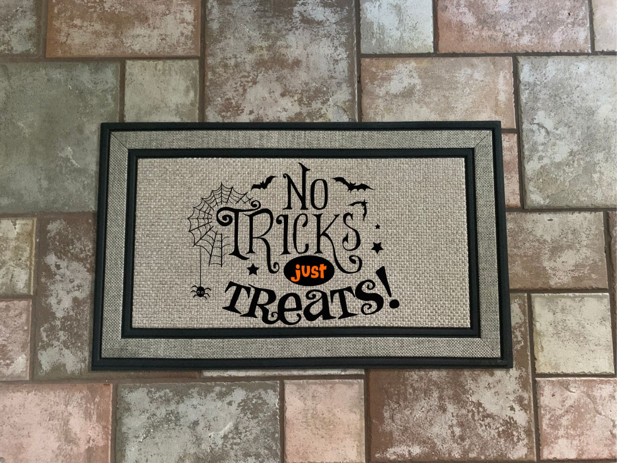 No Trick Just Treats Door Mat.
