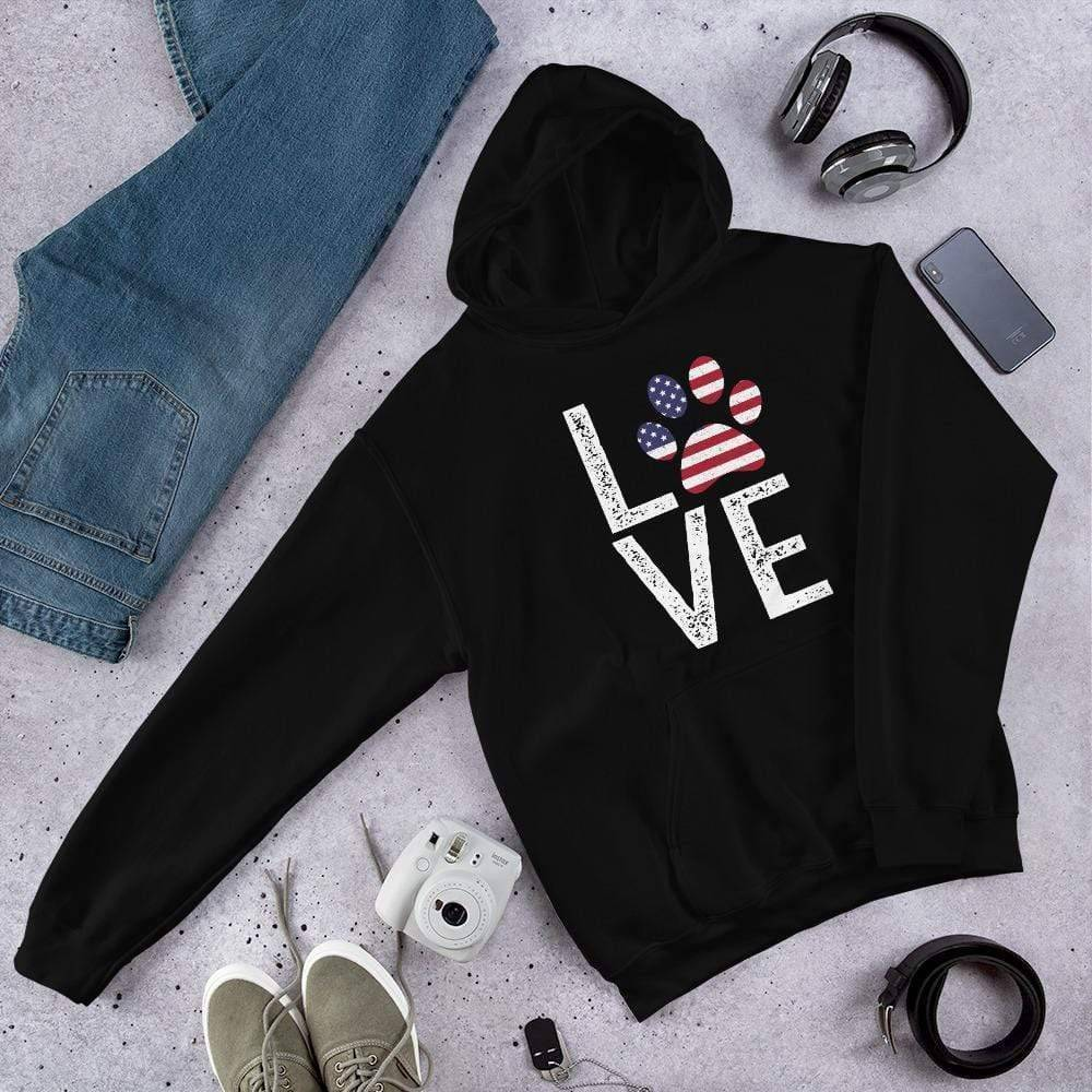 Animal Lovers - Love Paw USA Pullover Hoodie