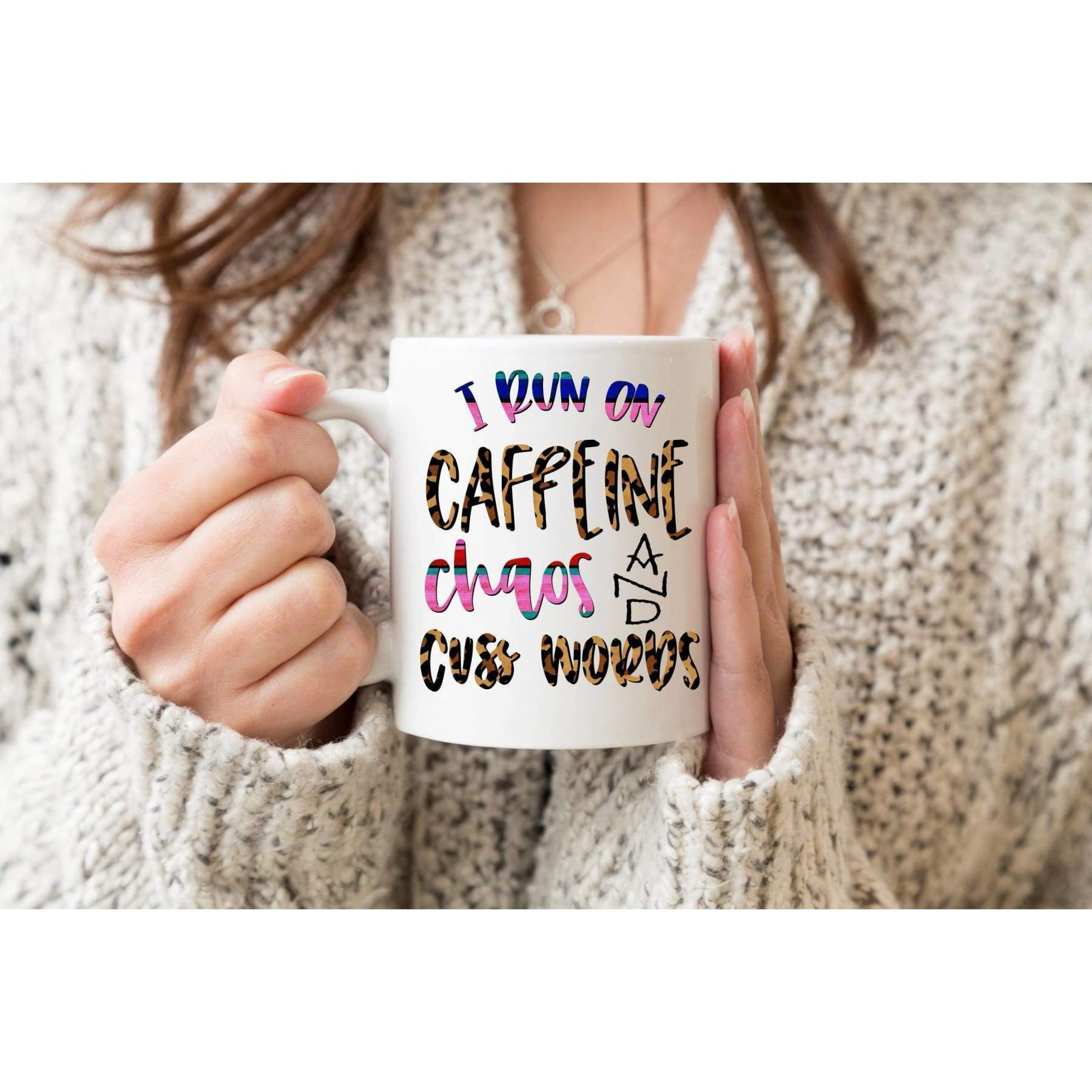 Rude Mugs - I Run on Chaos, Caffeine Cuss Words, Coffee Mug.