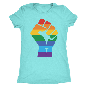 Shop American Gay Pride Rainbow Fist Women's Triblend T-Shirt