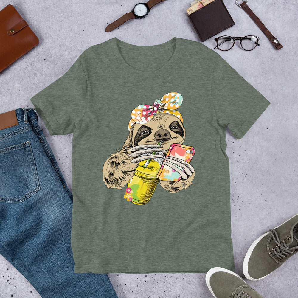 Sloth Drinking Coffee & Holding Phone  T-Shirt.