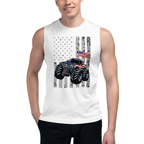 American Flag USA Truck Muscle Tank