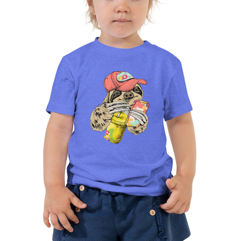 Summer Sloth Sippin Coffee & Holding Phone Toddler Short Sleeve Tee