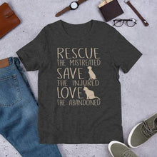 Load image into Gallery viewer, Rescue, Save & Love Tee. (3624474968158)