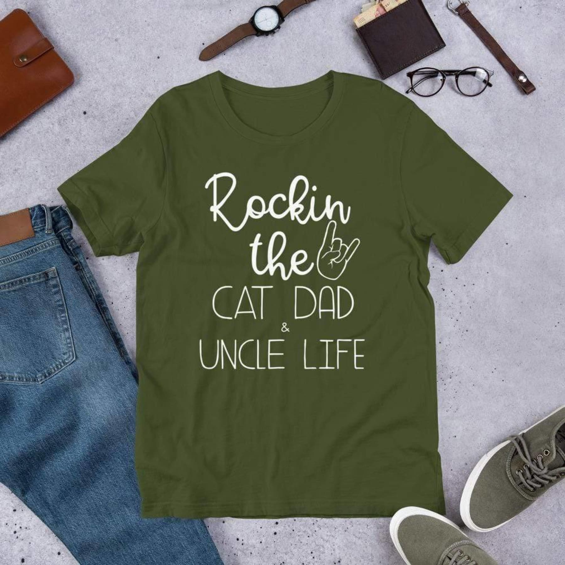 Rockin The Cat Dad & Uncle Life Tee.