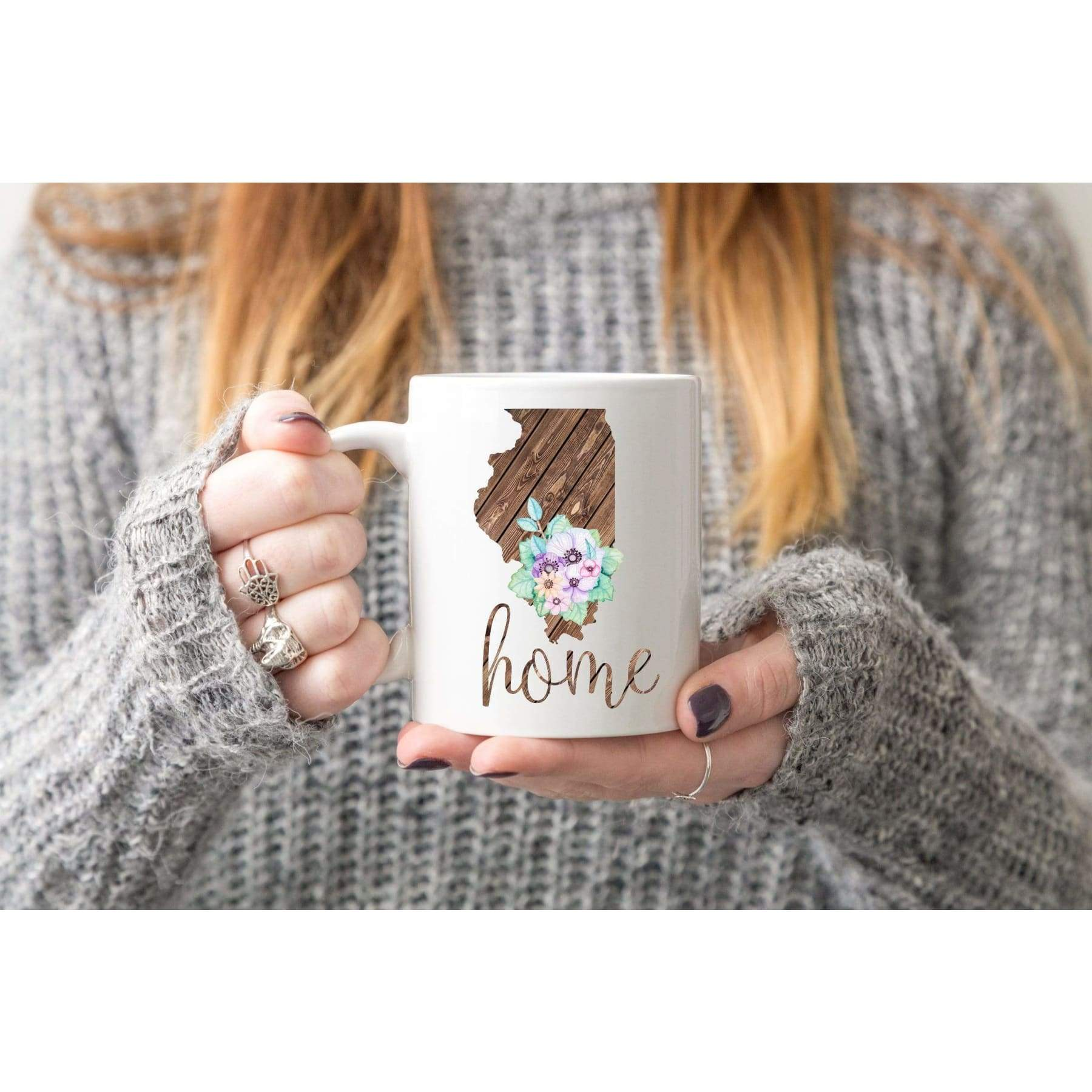 Wooden Home State With Flowers Mug.
