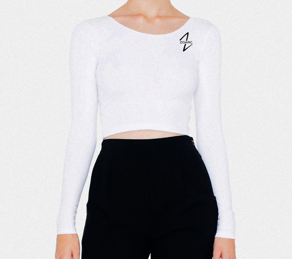 Women's Cotton Spandex Long Sleeve Crop Top-White
