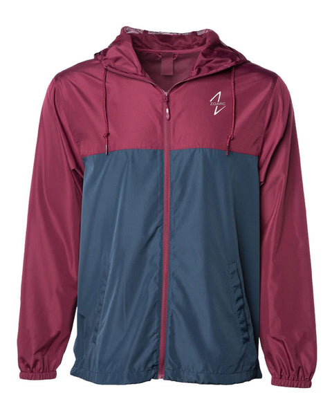 Light Weight Windbreaker Zip Jacket-Maroon/Navy