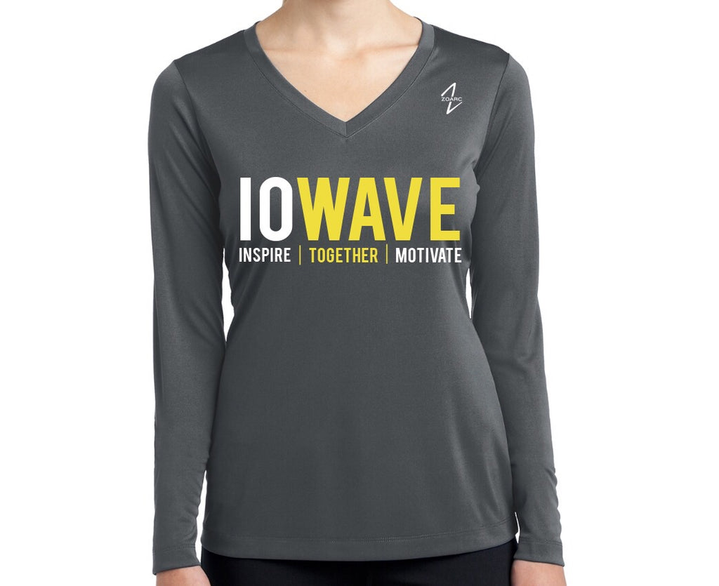 IOWAVE Women's Long Sleeve Performance Tee-Charcoal