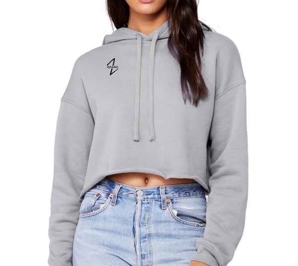 Cropped Fleece Hoodie-Grey