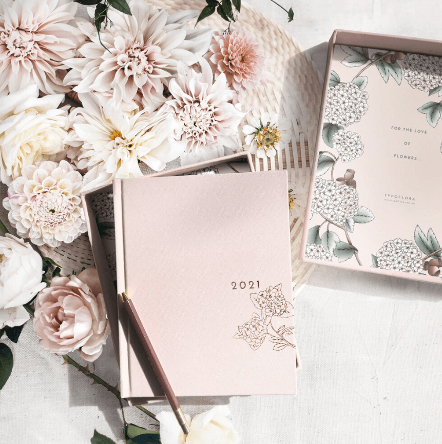 "BOTANICAL 2021 YEARLY DIARY PLANNER ""CRYSTAL"" BOX"
