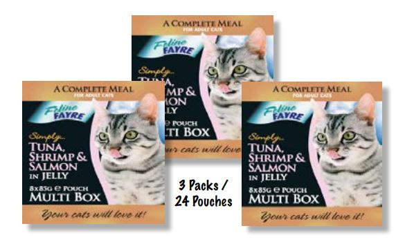 Tuna, Shrimp & Salmon 8 Pack 3x(8xPouches)