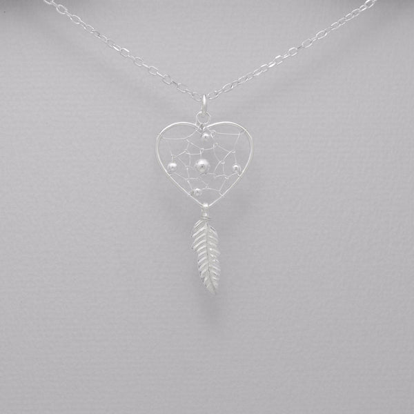 925 Sterling Silver Heart Dream Catcher Pendant - FemFit Design